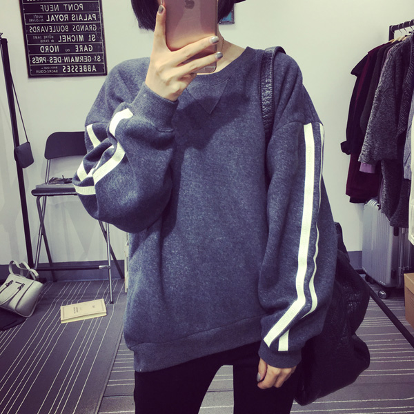 PS Mall 秋冬韓版運動風爆裂紋內絨加厚長袖套頭上衣【T4275】