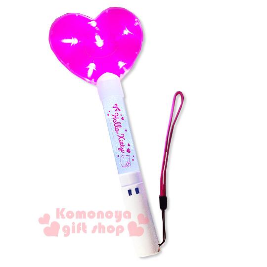 〔小禮堂〕Hello Kitty 心型LED螢光棒《白.螢光粉.大臉》閃亮繽紛