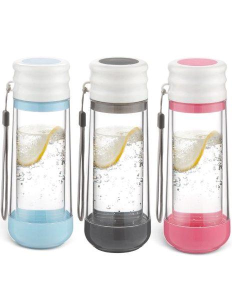 美國DRINKADEUX 雙層防撞玻璃瓶安全水壺-經典杯蓋款【粉色】