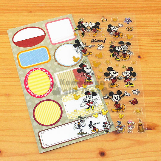 〔小禮堂〕迪士尼 米奇 米妮 燙金留言貼紙《灰.好朋友.花》可貼信封.裝飾或收藏