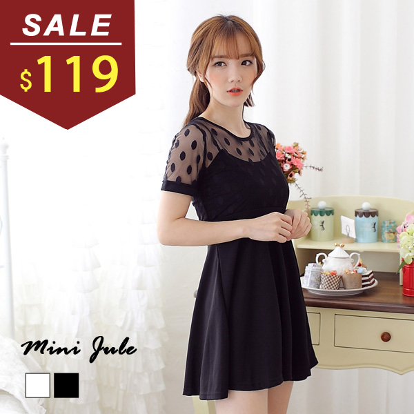 洋裝 點點網紗拼接打摺短袖連身裙 小豬兒 MiNi Jule 【YAA51003046】