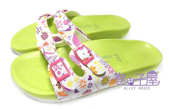 【巷子屋】繽紛花朵經典伯肯造型雙釦拖鞋 [88003] 綠 MIT台灣製造 超值價$100