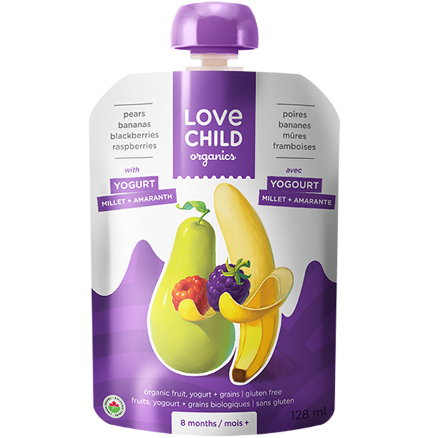 【Love Child】加拿大寶貝泥 嬰幼兒有機鮮萃生機蔬果泥 優格寶- 原味優格+西洋梨+香蕉+黑莓+覆盆莓