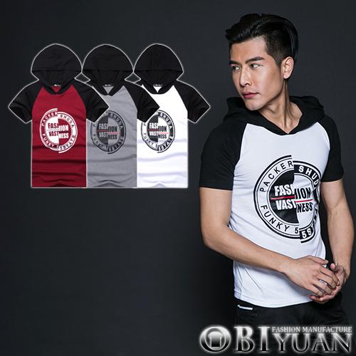 帽T【L35013】OBI YUAN韓版文字圓標斜肩撞色拼接連帽短袖T恤 共3色