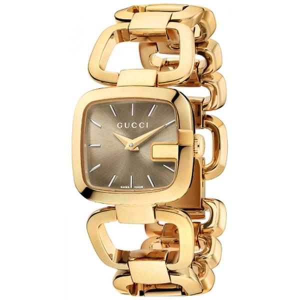 Gucci 古吉YA125511經典方G手環美鑽時尚腕錶/茶色面24*22.5mm