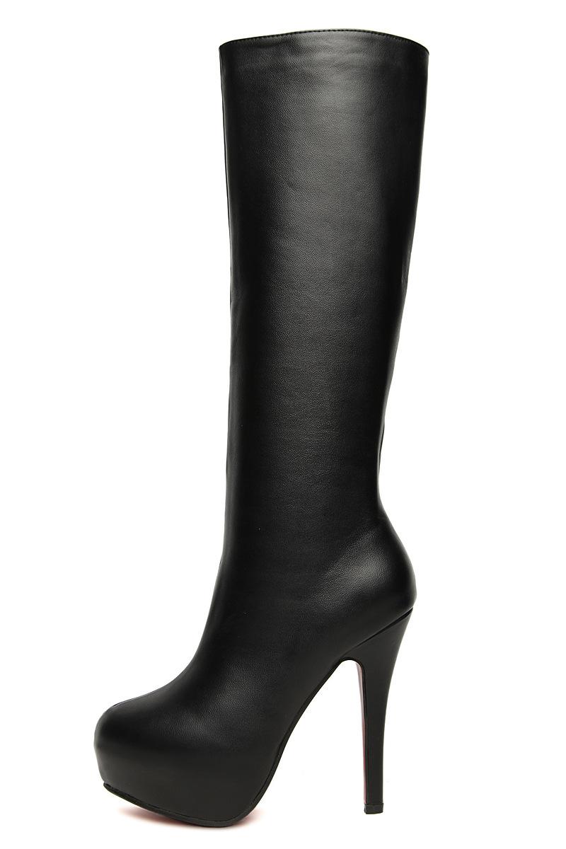 2016秋冬新款性感高跟長靴厚底女靴及膝過膝騎士靴歐美黑色絨面麂皮明星高筒靴