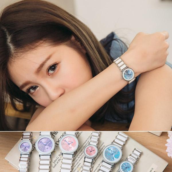 《好時光》BETHOVEN 甜蜜之心 圓形清晰數字 多角切割鏡面-陶瓷時尚女錶 (防水) 白 紫 藍 粉