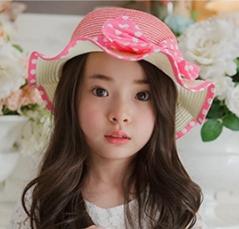 Kocotree◆可愛蝴蝶結繽紛糖果色浪漫波浪帽沿兒童防曬遮陽漁夫帽草帽-粉紅
