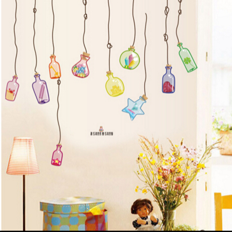 可移除牆貼客廳沙發電視牆兒童臥室背景牆浴室玻璃貼紙漂流瓶預購【no-39923851841】
