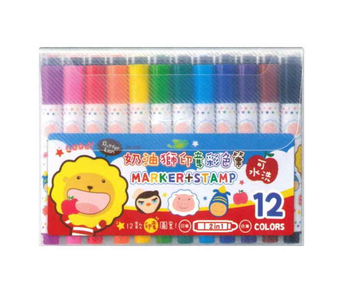 奶油獅 SM-001 可水洗 12色印章彩色筆