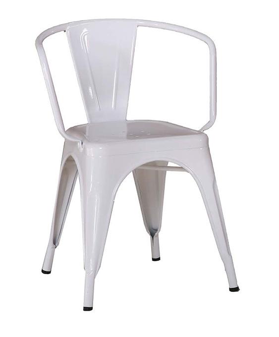 【 尚品傢俱】JF-487-2 強尼白色低背扶手餐椅