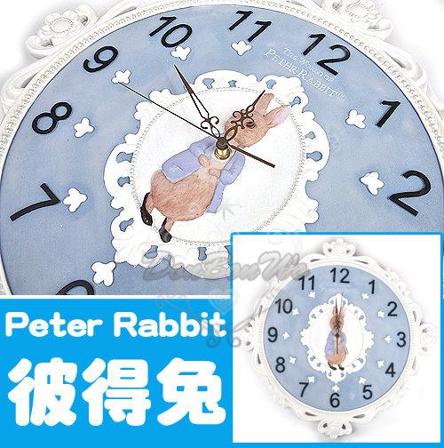 彼得兔古典雕花鳥白藍掛鐘時鐘100709海渡
