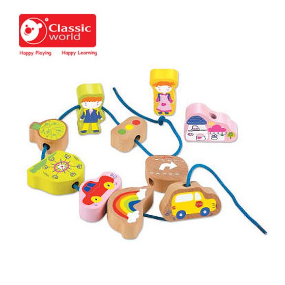 【德國 classic world】客來喜木頭玩具 城市串珠 CL2074