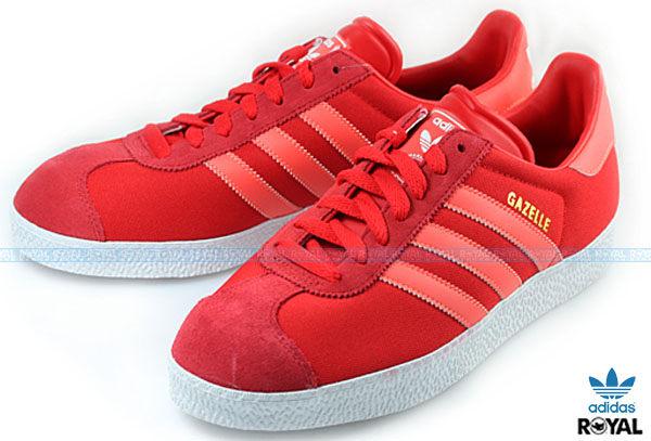 新竹皇家 adidas gazelle II 紅/橘斜紋 帆布 時尚 低筒 休閒運動鞋 男款 免運費NO.A4211