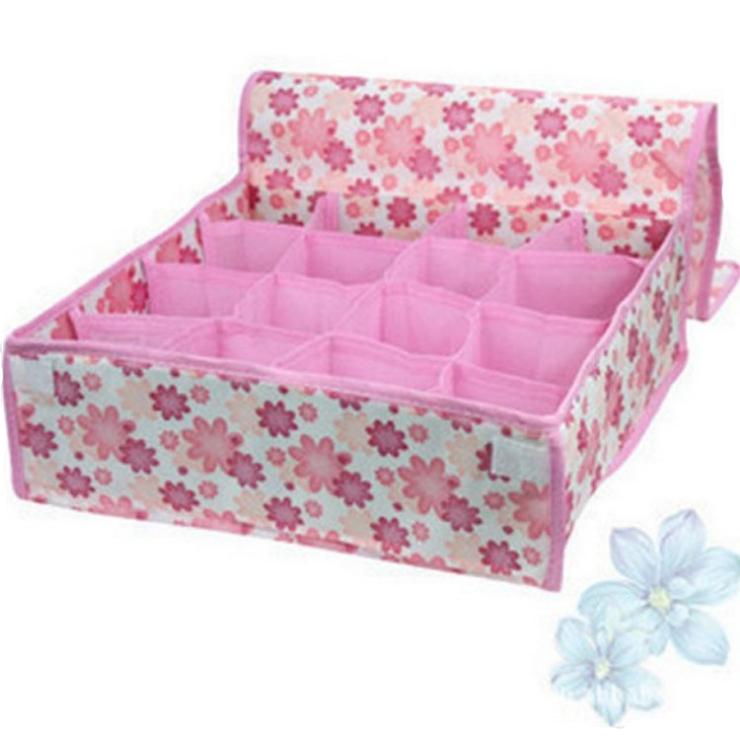 無紡布印花16格有蓋收納盒翻蓋整理內衣收納盒雜物儲物盒59元【省錢博士】