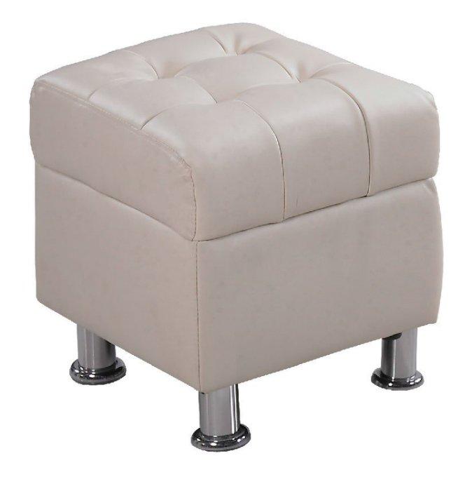 【尚品家具】 JF-181-6 庫倫40米白皮沙發椅凳