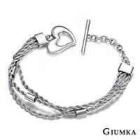 免費刻字【GIUMKA】愛在心中多鍊式T字扣手鍊 德國精鋼手鍊 甜美淑女款 銀色 單個價格 MB00687