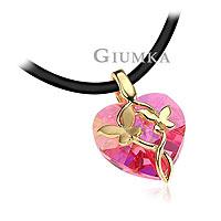 【GIUMKA】蝶舞翩翩項鍊 採用粉紅色施華洛世奇水晶 名媛淑女款 粉紅色款 單個價格/附鋼頭黑皮繩