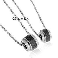 【GIUMKA】深情印記項鍊 316L鋼男女情人對鍊 酷黑款 單個價格/附白鋼鍊