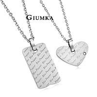 【GIUMKA】完美情人項鍊 316L鋼男女情人對鍊鈦鍺磁系列 晶鑽鋯石愛心/背面含鍺石 一對價格/附白鋼鍊