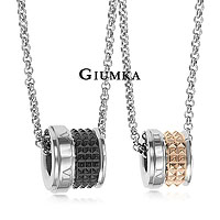 【↘殺7折】【GIUMKA】魅力羅馬項鍊 316L鋼男女情人對鍊 時尚菱格紋 黑銀/玫銀 單個價格/附白鋼鍊