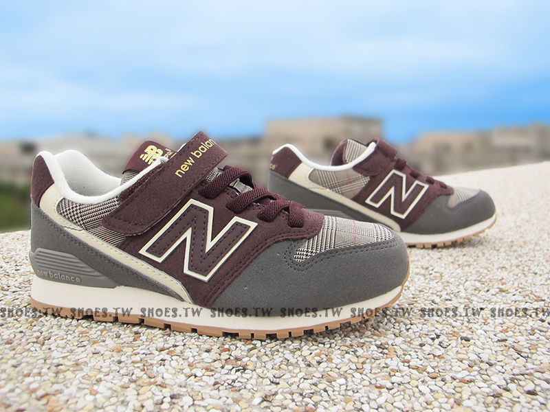 Shoestw【KV996GYY】NEW BALANCE 996 童鞋 運動鞋 中童 灰咖啡 格紋
