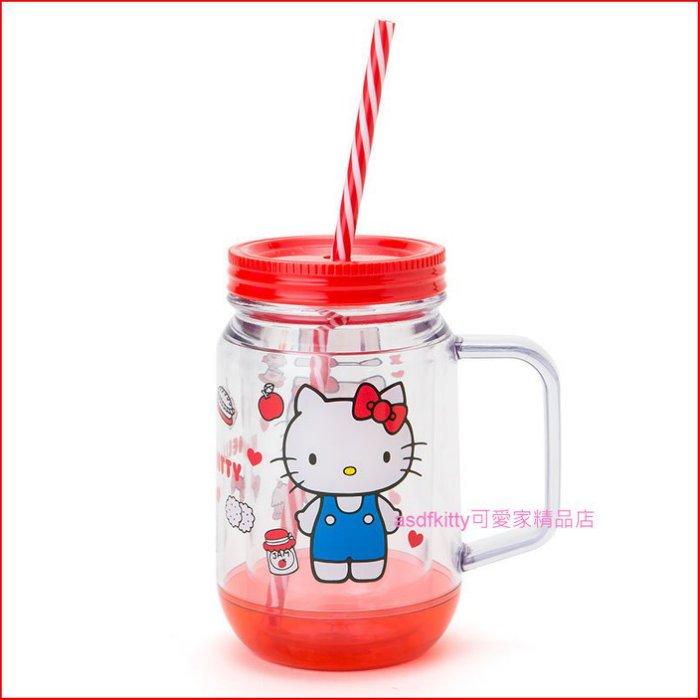 asdfkitty可愛家☆Kitty透明塑膠冷水杯/附吸管-日本正版商品