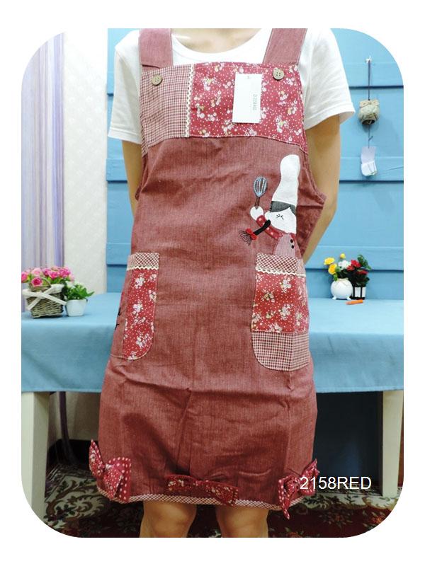 ◤彩虹森林◥《2158RED》可愛廚師小女孩 日式拼布圍裙 日式圍裙 主婦家居 幼稚園工作圍裙 工作裙