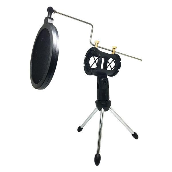【創駿】華 360度 手機麥克風支架組 附防噴罩 迷你ktv