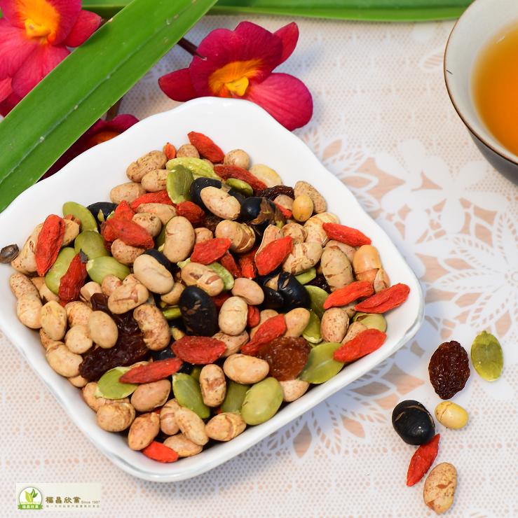 福昌食品-素食-綜合果仁(Mixed Nuts)-450g/袋-(非基因改造黃豆、黑豆、青豆、葡萄乾、南瓜子仁、枸杞)