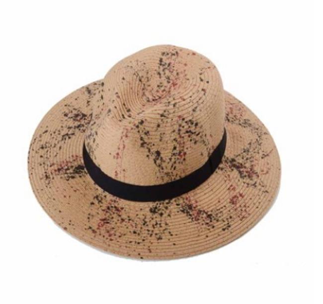 50%OFF【E013121SWH】夏季草帽女大簷遮陽帽韓版時尚沙灘帽休閒渡假帽英倫爵士禮帽