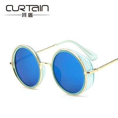 50%OFF【J014218GLS】2016新款潮流圓框太陽鏡時尚側棚太陽眼鏡炫彩膜墨鏡蛤蟆鏡附眼鏡盒