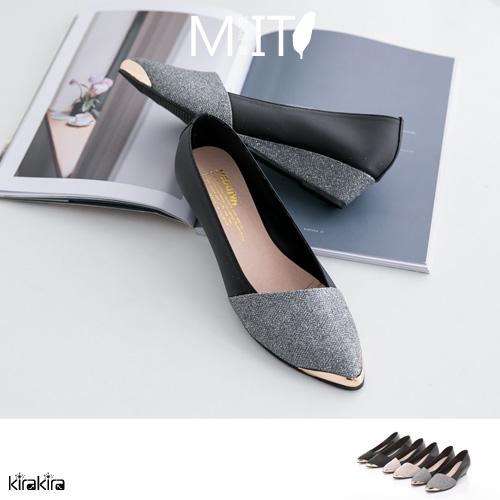 包鞋- MIT 貴氣亮粉金屬感低跟楔型尖頭娃娃鞋【011600018】-預購