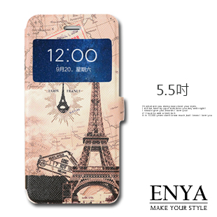 iPhone6+/6S+ Plus 5.5吋 現貨 巴黎鐵塔彩繪視窗皮套 (郵局免運) Enya恩雅