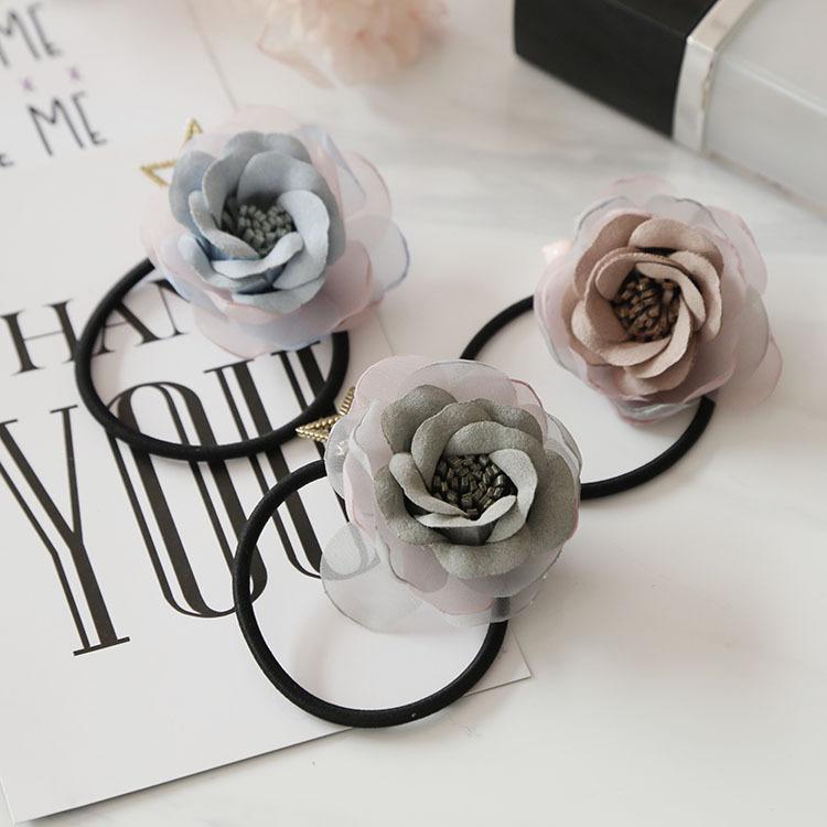 韓系手作麂皮雪紡拼接立體花朵彈力髮束 髮繩