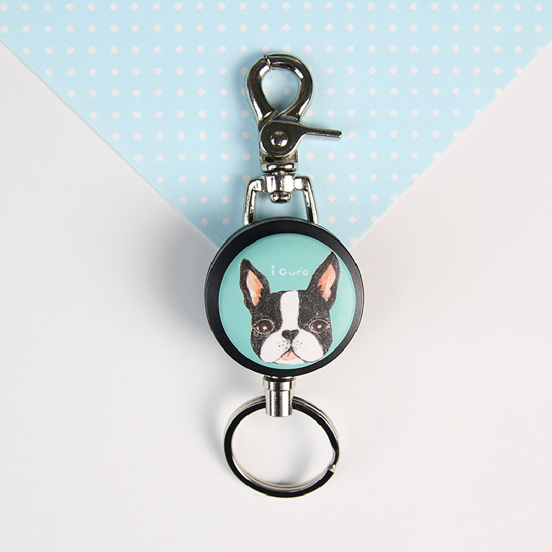 i cure -i好溜鑰匙扣環系列-手繪風系列-波士頓  狗  鑰匙圈 伸縮拉環 伸縮鋼線