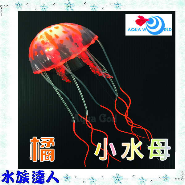 【水族達人】【造景裝飾】水世界AQUA WORLD《sea anemone 小水母 螢光橘 G-077-S-O》裝飾