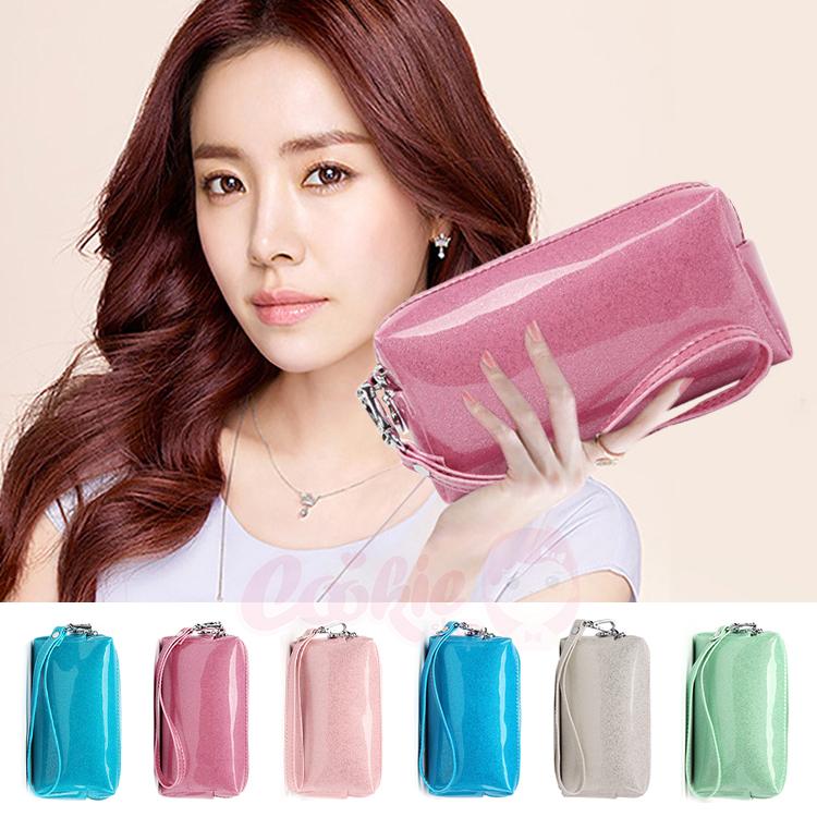 韓國東大門 糖果色珠光漆皮亮面拉鍊 零錢包手提包(6色)【庫奇小舖】