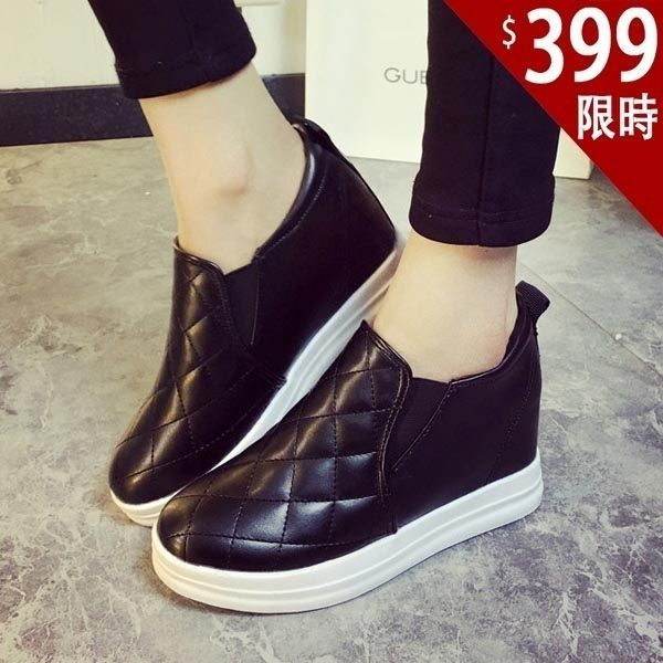 內增高鞋-韓國新款簡約設計感格菱紋百搭套腳內增高懶人鞋 樂福鞋 【AN SHOP】