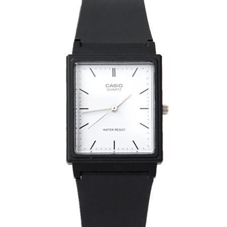 CASIO卡西歐 方形簡約刻度設計透氣膠錶 黑白配色 輕巧中性款手錶 柒彩年代【NE1854】原廠公司貨