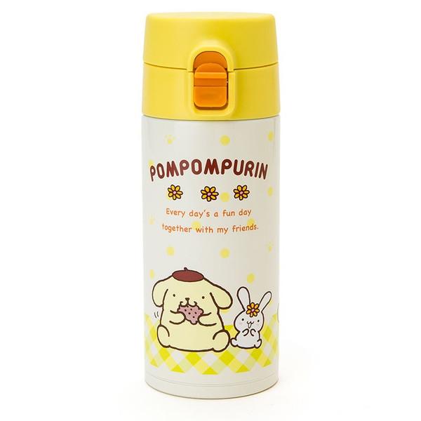 【真愛日本】16012800008 不銹鋼隨手瓶350ml-PN格紋白黃 三麗鷗家族 布丁狗 水壺 保溫 水瓶