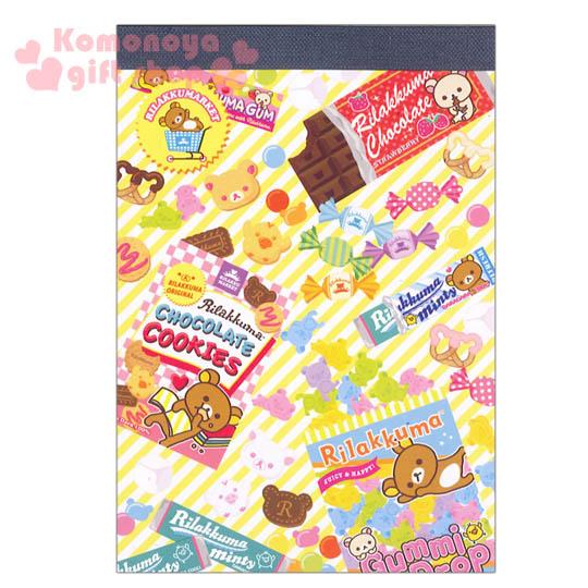 〔小禮堂〕懶懶熊 便條本《A6.黃.巧克力.糖果滿版》8種不同圖案花樣