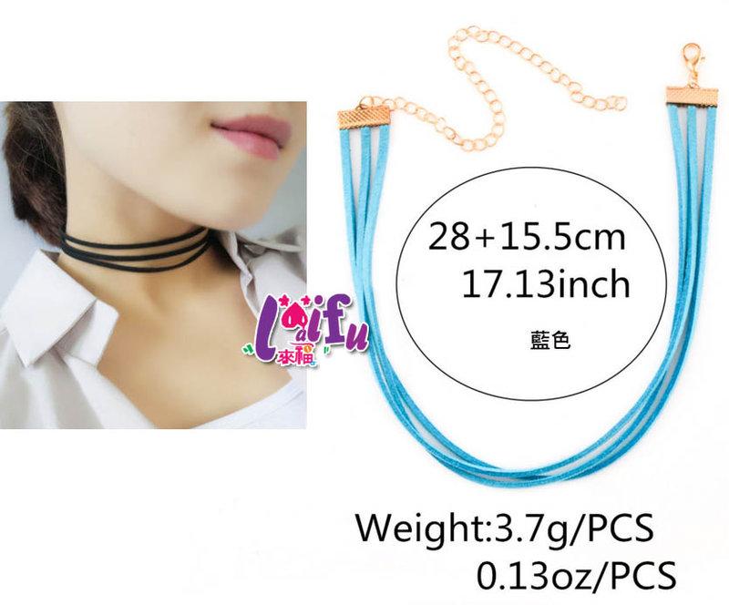 ★草魚妹★H416頸鍊歐美麂皮三層頸鍊極算歐美項鍊,售價99元