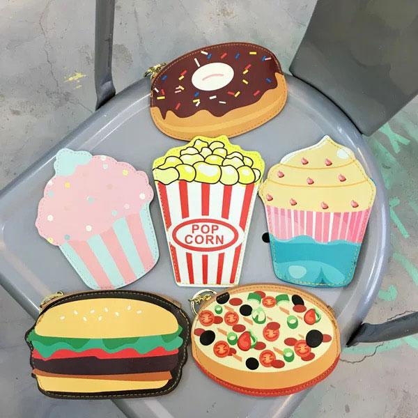 零錢包 小包 鑰匙包 甜甜圈 爆米花 漢堡 蛋糕 冰淇淋 比薩 可愛