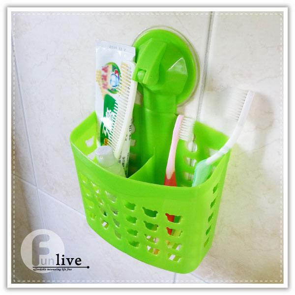 【aife life】吸盤雙格瀝水收納籃/吸盤置物架/置物籃/衛浴收納籃/牙刷架牙膏架/廚房菜瓜布瀝水籃