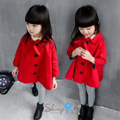 【R0163】shiny藍格子-嬰幼館.春秋新款韓版女童系帶上衣長袖外套風衣