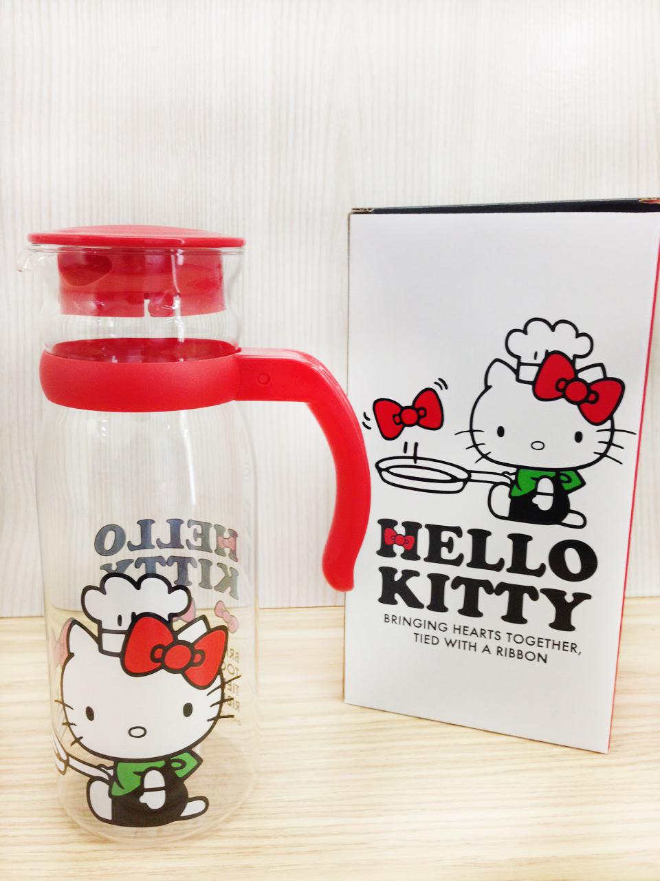 【真愛日本】15100800026  耐熱玻璃瓶-廚師 三麗鷗 KITTY 凱蒂貓 玻璃瓶 水瓶 瓶罐 生活用品