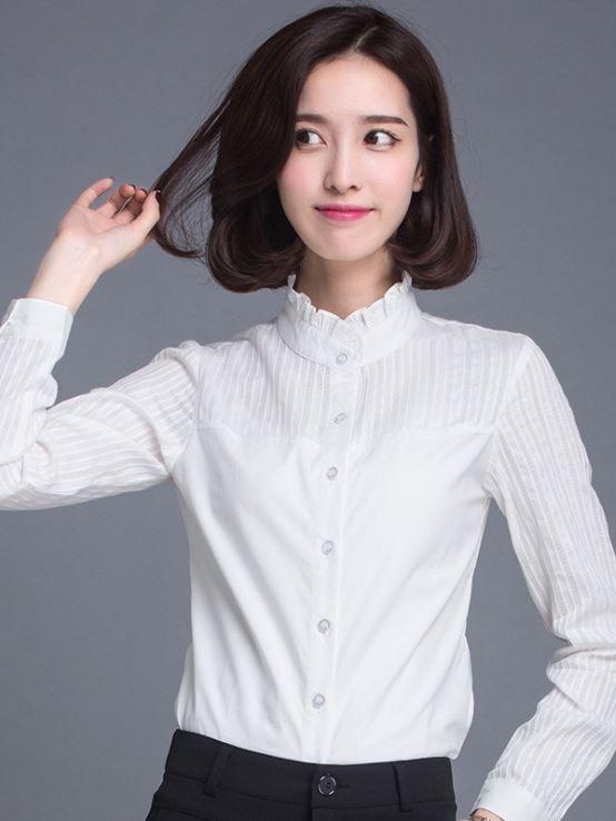 韓版立領棉質 OL襯衫 通勤服飾上衣 wcps47