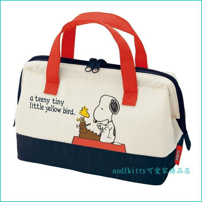 asdfkitty可愛家☆史奴比.史努比SNOOPY寬口拉鍊輕量保溫便當袋/手提袋/購物袋-也可保冷-日本正版商品