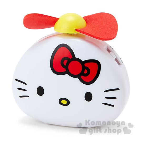 〔小禮堂〕Hello Kitty 迷你飯糰造型風扇《白.大臉》